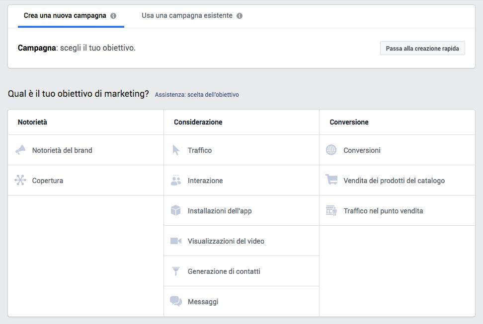 Obiettivi della campagna marketing facebook